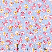 Dolly Jean - Tossed Flowers Blue Yardage