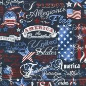 American Pride - Patriotic Words Navy Yardage
