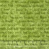 Doodle Days Calendar - Words Print Green Yardage