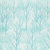 A Walk on the Path - Teal Branches Metallic Yardage