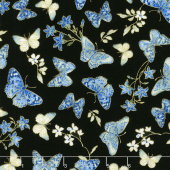 Blue Symphony - Butterfly Black Metallic Yardage