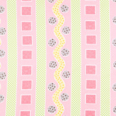 Mama Lal - Rickrack Stripe Pink Yardage