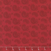 Wilmington Essentials - Red Carpet Paisley Toss Red on Red Yardage