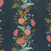 English Garden - Garden Vines Navy Linen Canvas Yardage