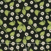 From the Farm - Strawberry Blossoms Black Yardage