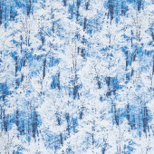 Pearl Frost - Winter Trees Royal Pearlescent Yardage