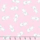 Penned Pals Flannel - Pink Colorstory Bears Baby Pink Yardage