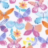 Winterfleece Prints Conversational - April Butterfly White Fleece Yardage