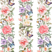 Botanica - Floral Stripe White Multi Digitally Printed Yardage