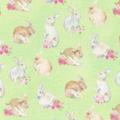 Bunny Love - Realistic Bunnies Green Multi Yardage