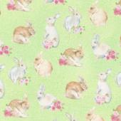 Bunny Love - Realistic Bunnies Green Multi Yardage