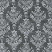 Wicked - Skull Damask Black Yardage