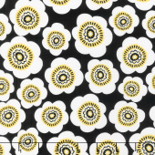 Sunny Days - Packed Daisies Black Yardage