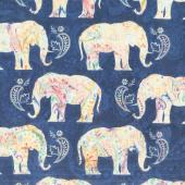 Bohemian Dreams - Elephants Navy Yardage