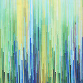 Gradients - Blue Fragmented Stripe Blues & Greens Digitally Printed Yardage
