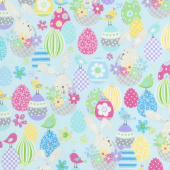 Some Bunny Loves You - Bunny Baskets Light Aqua Yardage