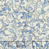 Calista - Leaves Cream Pearlized Yardage