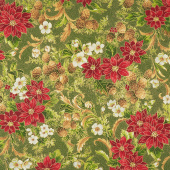 Poinsettias and Pine Metallic - Evergreen Yardage