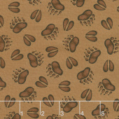 Cozy Cabin - Animal Tracks Brown Yardage