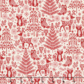 Scandi - Forest Animals Red Yardage