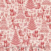Scandi - Forest Animals Red Yardage