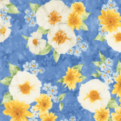 Gardenside Path - Large Flowers Blue Yardage
