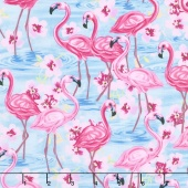 Animals - Flamingos with Floral Blue Yardage
