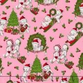 Kewpie Christmas - Christmas Main Pink Yardage