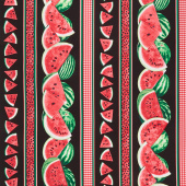 One in a Melon - Watermelons and Gingham Black Stripe Yardage