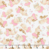 Friendship Blossoms - Tossed Bunny and Her Bear White Yardage