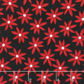 Cherry Twist - Daisy Dot Black/Cherry Yardage