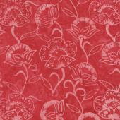 Tonga Batiks - Poppy Tossed Flowers Red Yardage