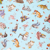 Hungry Animal Alphabet - Animal Toss Blue Digitally Printed Yardage
