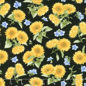 My Sunflower Garden - Tossed Sunflowers Black Multi Yardage