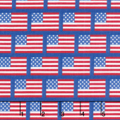 Patriotic Picnic - Flags Blue Yardage