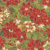 Cardinal Song Metallic - Poinsettia & Pine Crimson Yardage