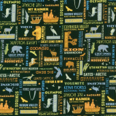 National Parks - Word Print Black Yardage