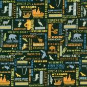 National Parks - Word Print Black Yardage