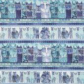 Feline Frolic - Pictorial Stripe Royal Blue Metallic Yardage