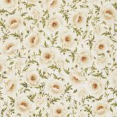 Gilded Blooms - Poppies Ivory Metallic Yardage