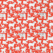 On the Farm - Animal Farm Red Yardage