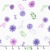 Amethyst Magic - Small Floral White Yardage