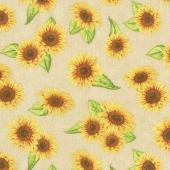 Jardin Du Soleil - Sunflower Toss Tan Yardage