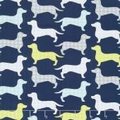 Dog Gone It - Dachshunds-tooth Dark Blue Yardage