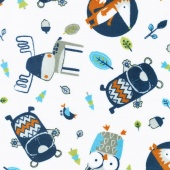 "Cuddle Prints - Into The Woods Navy 60"" Minky Yardage"