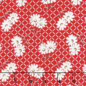 Sugar Sack II - Daisy Grid Red Yardage