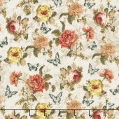 Afternoon Tea - Tossed Roses Parchment Yardage