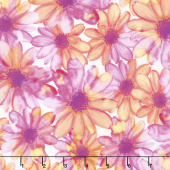 Color Calypso - Berry Color Kissed Flowers White Violet Yardage