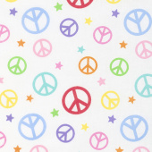 Emelia's Dream - Peace Signs White Yardage