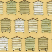 Bee a Keeper - Bee Hives Boxes Yellow Yardage